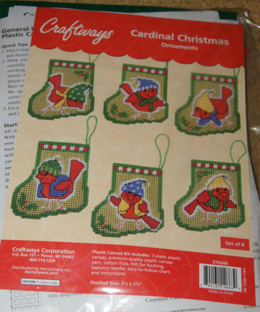 Craftways Plastic Canvas Kit: Cardinal Christmas Ornaments
