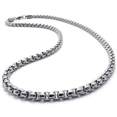 "MENS 2MM Silver 20"" Stainless Steel Pearl Box Chain Necklace Fashion"