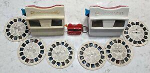 2 Vintage GAF View Master 1970s Red White Disney water damaged reels As Is