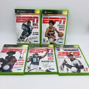 LOT-OF-5-XBOX-ESPN-NFL-2K5-NHL-2K5-COLLEGE-HOOPS-2K5-MLB-2K5-amp-NBA-2K5