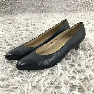 5bdfdc6a107 Image is loading Salvatore-Ferragamo-Leather-Classic-Pumps-Navy-Blue-Shoes-