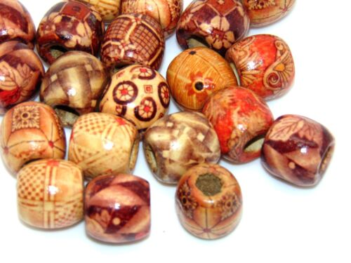 Mixed Painted Wooden Drum Beads 17mm Beads Jewellery Ethnic Craft U33 50 Pcs