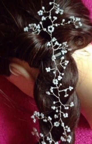 """Cheveux vigne Tiara Couronne mariage demoiselles d/'honneur Baby/'s Breath Gypsophile 20/"""" Boho Prom"""