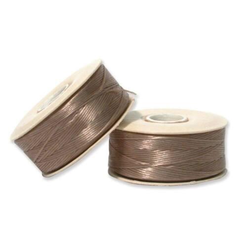 Size D Waxed Nylon Thread Nymo Beading Thread Size D Sand Ash 43915 2 bobbins