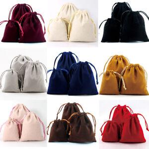 5x Velvet Jewelery Drawstring Wedding Velour Gift Bag Favour Pouches Bags 3 Size