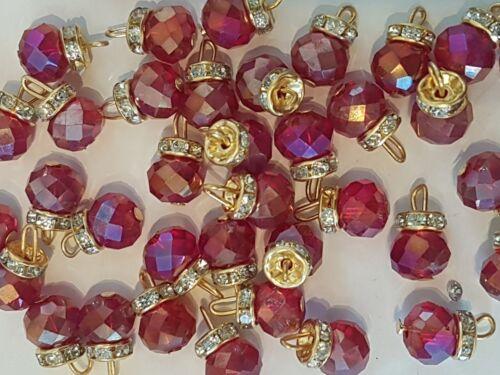 15 mm Fantaisie Verre Cristal rouge vin AB Robe Manteau Bouton Sew Sur bijou strass