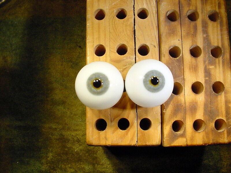 Vintage par de ojos de vidrio para Muñeca Biscuit o cera humana 1910 años Ø 35 mm 11554