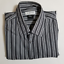 Versace-Collection-Trend-Men-039-s-Gray-Striped-Dress-Shirt-Size-18-5-Flawed thumbnail 1