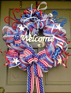 Handmade-Patriotic-4th-of-July-Summer-Deco-Mesh-Wreath-Everyday-Door-Decor