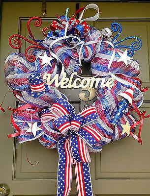 Handmade Patriotic 4th of July Summer Deco Mesh Wreath Everyday Door Decor