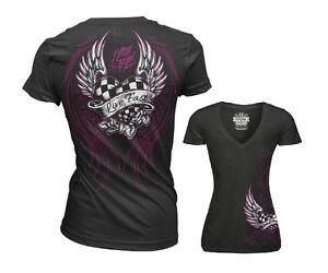 Lethal Angel Hand of Doom Skull Face Wings Gothic Punk V Neck T Shirt LA20552