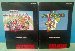Super-Mario-World-Mario-Kart-SNES-Super-Nintendo-Instruction-MANUAL-ONLY-No-Game