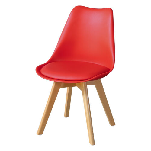 2 PCS SET PLASTIC DESIGNER STYLE DINING CHAIRS EIFFEL RETRO LOUNGE OFFICE RED UK