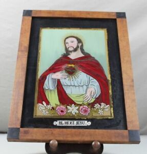 A8 / Reverse Glass Painting Heilgenbild~1850 Heart Jesus IN Biedermeier Frame /