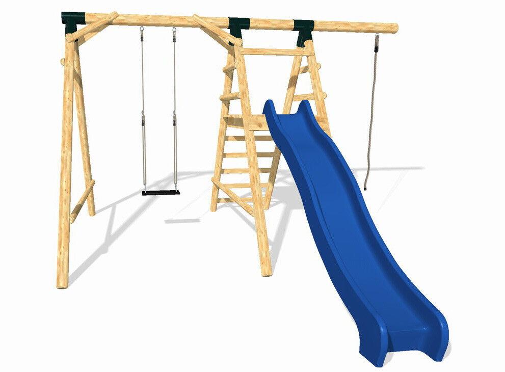 LoggyLand Spielplatz Set ULTIMATE Spielturm Schaukelgestell Rutsche Kletterturm