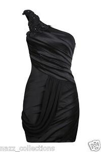 BLACK-ONE-SHOULDER-ROSE-amp-DIAMANTE-SATIN-WITH-DRAPED-CHIFFON-PENCIL-DRESS-8-16