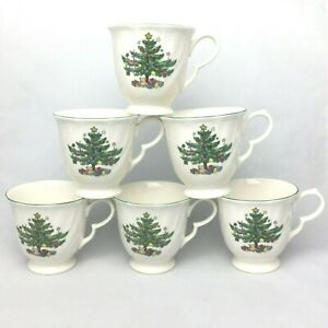 6-Mugs-Cups-Coffee-Tea-Nikko-Japan-Christmas-Happy-Holidays-EUC