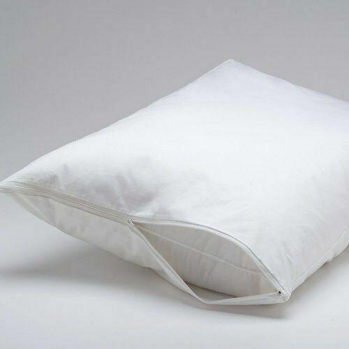 4pc DELUXE ZIPPERED VINYL PILLOW COVER PROTECTOR BED BUG DUST MITES HYPOALLERGEN
