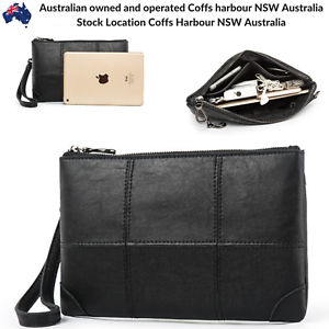 Mens-Wallet-Quality-Leather-Black-Zip-Coin-Purse-Card-Phone-Keys-Holder-Manbag