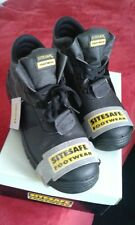 SITE SAFE MEN'S WORK BOOTS BLACK SAFETY SHOES STEEL TOE CAP UK 10 EU 44