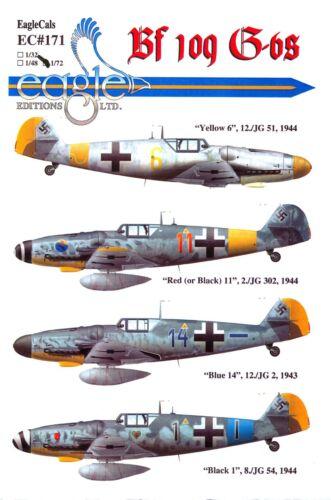 EagleCals Decals 1//72 MESSERSCHMITT Bf-109G Fighter Collection Part 1