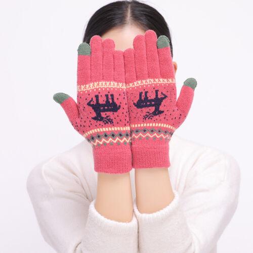 Women Winter Warm Kint Deer Full Finger Touch Screen Thermal Gloves Xmas Gift