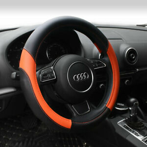 Orange Genuine Leather Steering Cover Fits 15 Inch Outer Diameter Standard Car Steering Wheel Perfectly
