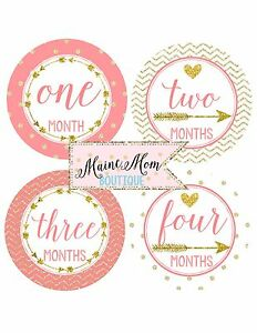 baby girl milestone month monthly stickers coral arrow gold glitter