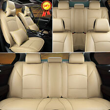 Full Set PU Leather Seat Covers For Ford F-150 2010-2016 Front+Rear+Gifts Beige