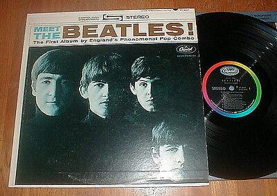"""BEATLES 1964 """"Meet The Beatles"""" LP RARE STEREO w 1 BMI VG++/NM-"""