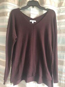 Women-s-She-amp-Sky-Sweater-Burgundy-Size-M-Slit-In-Side