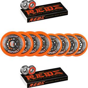 Labeda-Asphalt-Inline-Roller-Hockey-Wheels-76mm-80mm-HILO-Orange-85A-Bones-Red