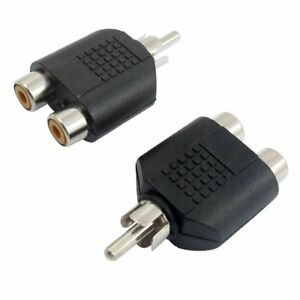 AV-Audio-1-RCA-Male-Plug-to-2-Female-RCA-Adapter-Connector-2-Pcs-F6