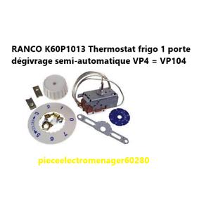 K60P1013 Thermostat frigo 1 porte dégivrage semi-automatique VP4 = VP104