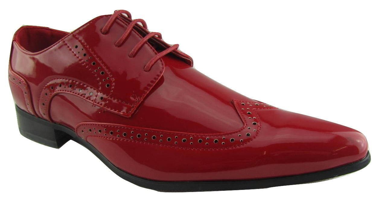 Rossellini Prato Z2 Mens shoes Lace Up Brogue Red Patent Pointed Casual shoes
