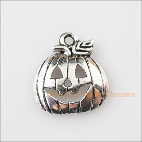 8Pcs Antiqued Silver Tone Halloween Pumpkin Mask Charms Pendants 16x18mm