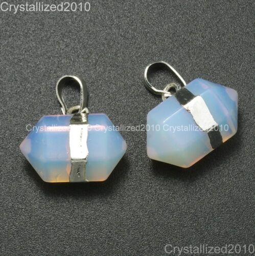 Piedras Preciosas Naturales Prisma hexagonal señaló Reiki Chakras Colgante Perlas de Plata Oro