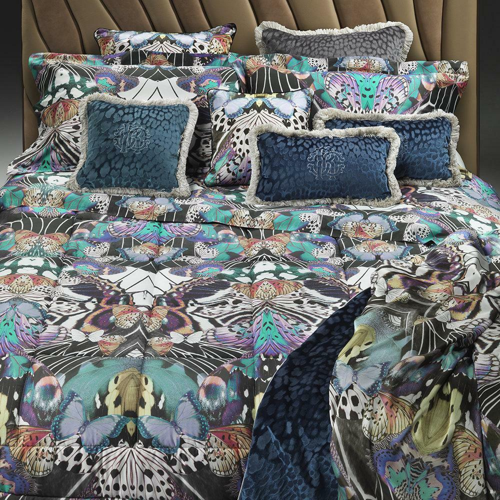 Roberto Cavalli bed set sheets in cotton satin FLYING WINGS fuxia