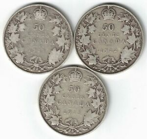 3-X-CANADA-50-CENTS-HALF-DOLLARS-GEORGE-V-STERLING-SILVER-COINS-1911-1912-1913