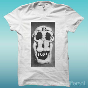 T-SHIRT-TESCHIO-DONNE-SKULL-WOMANS-BIANCO-THE-HAPPINESS-IS-HAVE-MY-T-SHIRT-NEW
