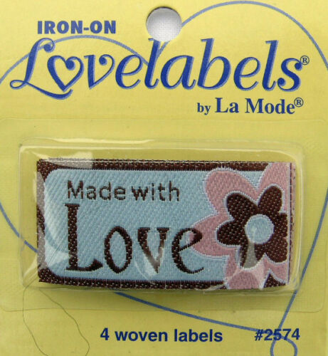 Qty-4 Iron-On//Sew-In MADE WITH LOVE Woven Labels
