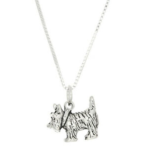 Silver Scottie Dog Charm on a Silver Cable Chain Scottish Terrier Necklace