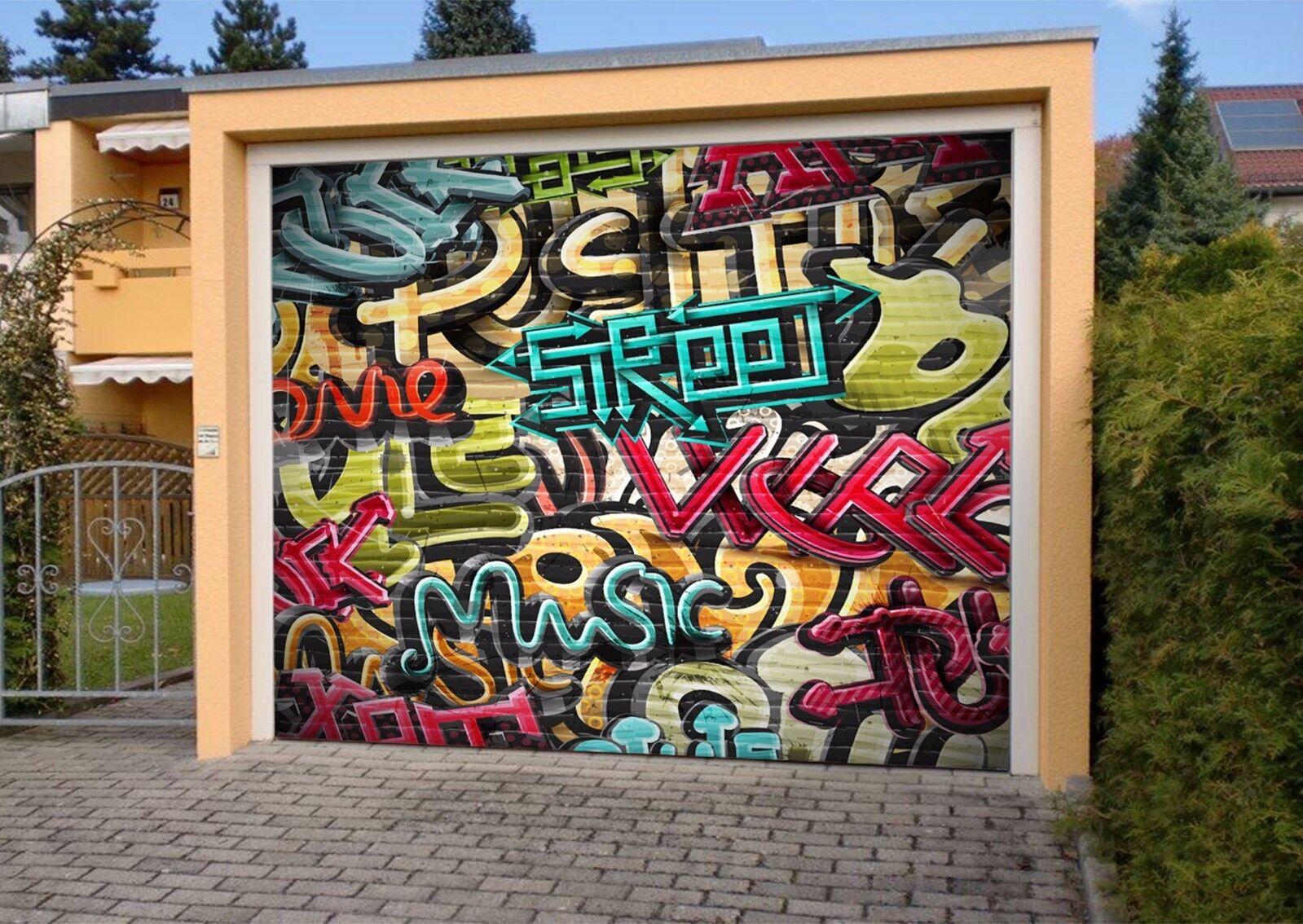 3D color Art Font 54 Garage Door Murals Wall Print Wall AJ WALLPAPER UK Lemon