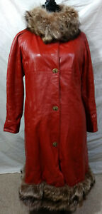 Sills-Cashin-Vintage-Leather-Raccoon-Fur-Long-Lined-Coat-Jacket-Red-Brown-Sz-12
