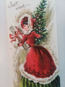 UNUSED-Vtg-1950s-LADY-Tree-Gift-Embossed-Tall-Splendor-CHRISTMAS-GREETING-CARD