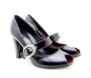 Enzo Angiolini Buckle 5.5 M Black Heels Patent Leather Janes EAMYBELL Open Toe
