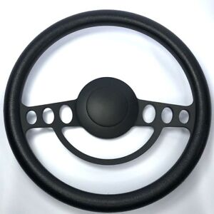 14-034-Black-Billet-9-Hole-Nostalgia-Steering-Wheel-Black-Wrap-amp-Horn-Button