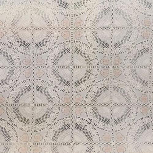 Tovaglia Tavola Plastica Plastificata Fantasia Ricamato Beige PVC 50cm x H 135cm