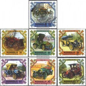 Mongolei-1328-1334-kompl-Ausg-gestempelt-1980-Alte-Autos