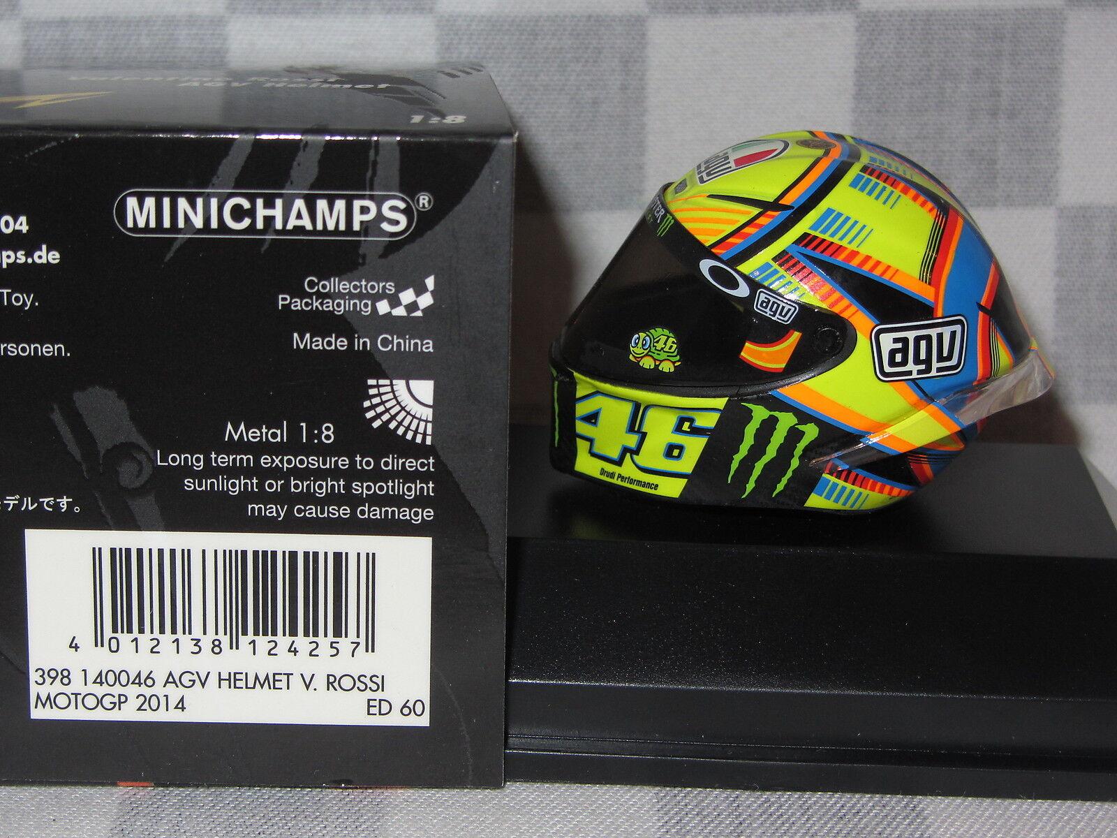 1 8 MINICHAMPS MINICHAMPS MINICHAMPS AGV REPLICA HELMET VALENTINO ROSSI MOTO GP 2014  398 140046 15436a
